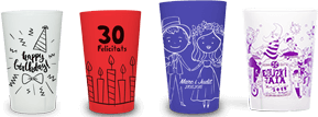 custom cups for private parties or events (wedding, bithday parties, christening, ...)